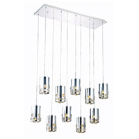 Elegant Lighting Broadway 10 Light LED Pendant in Chrome with Royal Cut Clear Crystal 2055D10O/RC