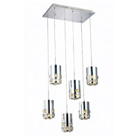 Elegant Lighting Broadway 6 Light LED Pendant in Chrome with Royal Cut Clear Crystal 2055D6O/RC