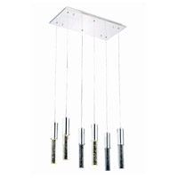 Elegant Lighting Diva 6 Light LED Pendant in Chrome with Royal Cut Clear Crystal 2056D6O/RC