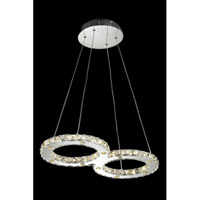 Elegant Lighting Atom 24 Light LED Dining Chandelier in Chrome with Royal Cut Clear Crystal 2062D22C/RC