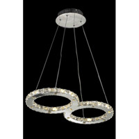 Elegant Lighting Atom 24 Light LED Dining Chandelier in Chrome with Royal Cut Clear Crystal 2062D26C/RC