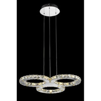 Elegant Lighting Atom 30 Light LED Dining Chandelier in Chrome with Royal Cut Clear Crystal 2063D24C/RC - Open Box