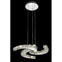 Elegant Lighting Atom 15 Light LED Dining Chandelier in Chrome with Royal Cut Clear Crystal 2064D20C/RC