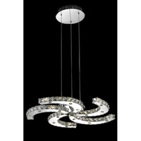 Elegant Lighting Atom 25 Light LED Dining Chandelier in Chrome with Royal Cut Clear Crystal 2064D26C/RC