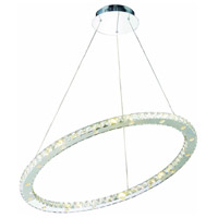 Elegant Lighting Atom 32 Light LED Dining Chandelier in Chrome with Royal Cut Clear Crystal 2065D32C/RC