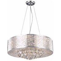 Elegant Lighting Prism 9 Light Dining Chandelier in Chrome with Royal Cut Clear Crystal 2078D24C/RC - Open Box