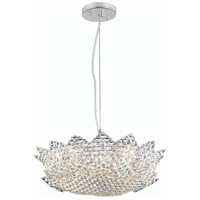 Lotus 8 Light 19 inch Chrome Pendant Ceiling Light