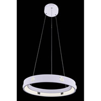 Elegant Lighting InfinityPendant in White with Royal Cut Clear Crystal 2096D18WH/RC