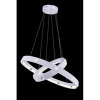 Elegant Lighting InfinityPendant in White with Royal Cut Clear Crystal 2096G29WH/RC