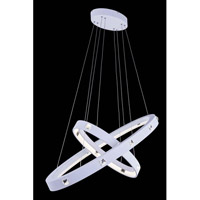Elegant Lighting InfinityPendant in White with Royal Cut Clear Crystal 2097G39WH/RC