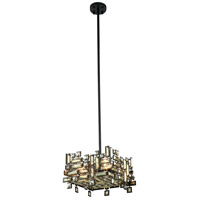 Picasso 4 Light 14 inch Dark Bronze Pendant Ceiling Light in Golden Teak
