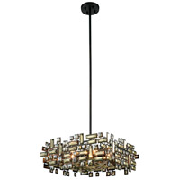 Picasso 6 Light 21 inch Dark Bronze Pendant Ceiling Light in Golden Teak