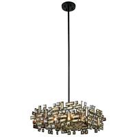 Elegant Lighting 2100D21DB/RC Picasso 6 Light 21 inch Dark Bronze Pendant Ceiling Light in Golden Teak