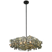 Picasso 6 Light 24 inch Dark Bronze Pendant Ceiling Light in Golden Teak