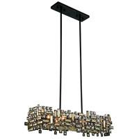 Elegant Lighting 2100D35DB/RC Picasso 6 Light 11 inch Dark Bronze Pendant Ceiling Light in Golden Teak