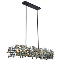 Picasso 8 Light 14 inch Dark Bronze Pendant Ceiling Light in Golden Teak