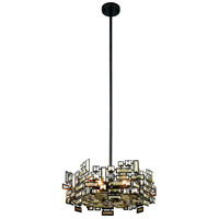 Picasso 6 Light 20 inch Dark Bronze Pendant Ceiling Light in Golden Teak