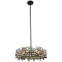 Elegant Lighting 2101D24DB/RC Picasso 6 Light 24 inch Dark Bronze Pendant Ceiling Light in Golden Teak