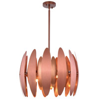 Lily 6 Light 20 inch Brushed Copper Pendant Ceiling Light