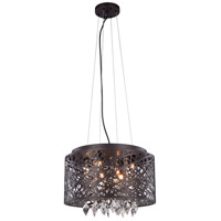 Elegant Lighting Finley 7 Light Pendant Flush Combo Mount in Matte Dark Brown with Royal Cut Clear Crystal 2113DF16MDB/RC