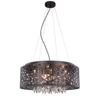 Elegant Lighting 2113DF24MDB/RC Finley 9 Light 24 inch Matte Dark Brown Pendant Flush Combo Mount Ceiling Light