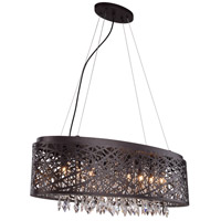 Elegant Lighting 2113DF32MDB/RC Finley 9 Light 12 inch Matte Dark Brown Pendant Flush Combo Mount Ceiling Light
