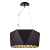 Elegant Lighting 2123D17FB Uptown 4 Light 17 inch Flat Black and Gold Pendant Ceiling Light