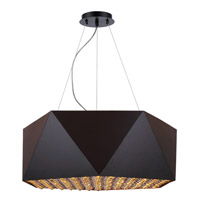 Uptown 7 Light 25 inch Flat Black and Gold Chandelier Ceiling Light, Urban Classic