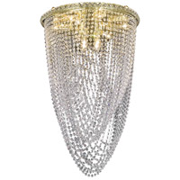 Elegant Lighting Tranquil 10 Light Flush Mount in Gold with Swarovski Strass Clear Crystal 2525F20G/SS
