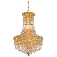 Elegant Lighting Tranquil 6 Light Pendant in Gold with Swarovski Strass Clear Crystal 2526D12G/SS