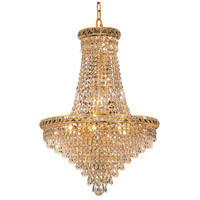 Elegant Lighting Tranquil 22 Light Dining Chandelier in Gold with Elegant Cut Clear Crystal 2526D22G/EC