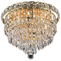 Tranquil 4 Light 10 inch Gold Flush Mount Ceiling Light in Royal Cut