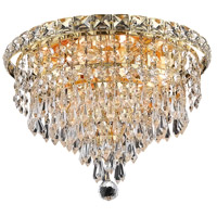 Elegant Lighting Tranquil 4 Light Flush Mount in Gold with Swarovski Strass Clear Crystal 2526F12G/SS