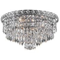 Elegant Lighting Tranquil 4 Light Flush Mount in Chrome with Elegant Cut Clear Crystal 2526F14C/EC
