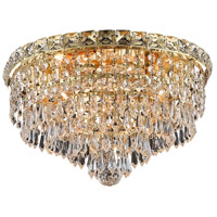 Elegant Lighting Tranquil 4 Light Flush Mount in Gold with Swarovski Strass Clear Crystal 2526F14G/SS