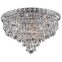 Tranquil 6 Light 16 inch Chrome Flush Mount Ceiling Light in Elegant Cut