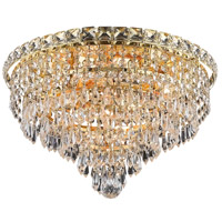 Elegant Lighting Tranquil 6 Light Flush Mount in Gold with Swarovski Strass Clear Crystal 2526F16G/SS
