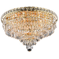 Elegant Lighting Tranquil 8 Light Flush Mount in Gold with Swarovski Strass Clear Crystal 2526F18G/SS
