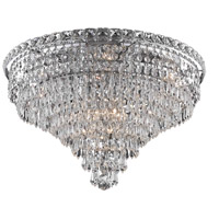 Tranquil 10 Light 20 inch Chrome Flush Mount Ceiling Light in Royal Cut