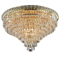Elegant Lighting Tranquil 10 Light Flush Mount in Gold with Spectra Swarovski Clear Crystal 2526F20G/SA