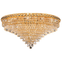Elegant Lighting Tranquil 18 Light Flush Mount in Gold with Swarovski Strass Clear Crystal 2526F30G/SS