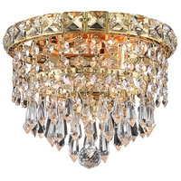 Elegant Lighting Tranquil 2 Light Flush Mount in Gold with Swarovski Strass Clear Crystal 2526F8G/SS