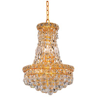 Elegant Lighting Tranquil 6 Light Pendant in Gold with Swarovski Strass Clear Crystal 2527D12G/SS