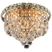 Elegant Lighting Tranquil 4 Light Flush Mount in Gold with Swarovski Strass Clear Crystal 2527F10G/SS