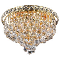 Elegant Lighting Tranquil 4 Light Flush Mount in Gold with Swarovski Strass Clear Crystal 2527F12G/SS