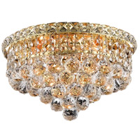 Elegant Lighting Tranquil 4 Light Flush Mount in Gold with Swarovski Strass Clear Crystal 2527F14G/SS