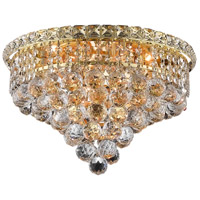 Elegant Lighting Tranquil 6 Light Flush Mount in Gold with Swarovski Strass Clear Crystal 2527F16G/SS