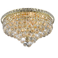 Elegant Lighting Tranquil 8 Light Flush Mount in Gold with Swarovski Strass Clear Crystal 2527F18G/SS