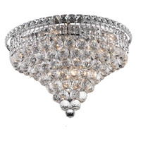 Elegant Lighting Tranquil 10 Light Flush Mount in Chrome with Swarovski Strass Clear Crystal 2527F20C/SS