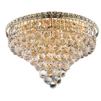Elegant Lighting Tranquil 10 Light Flush Mount in Gold with Swarovski Strass Clear Crystal 2527F20G/SS